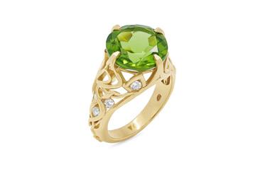 Peridot and Diamond Yellow Gold Dress Ring