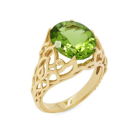 Peridot and Yellow Gold Dress Ring