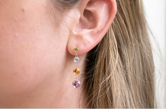peridot, blue topaz, citrine, amethyst drop stud earrings in white gold