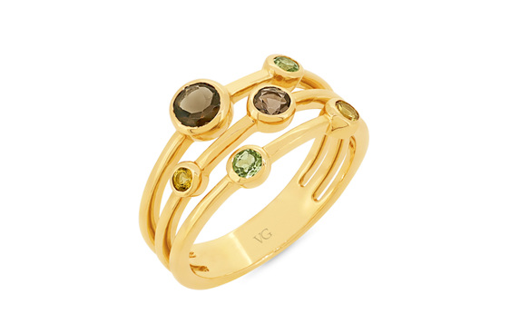 peridot citrine smokey quartz yellow gold ring