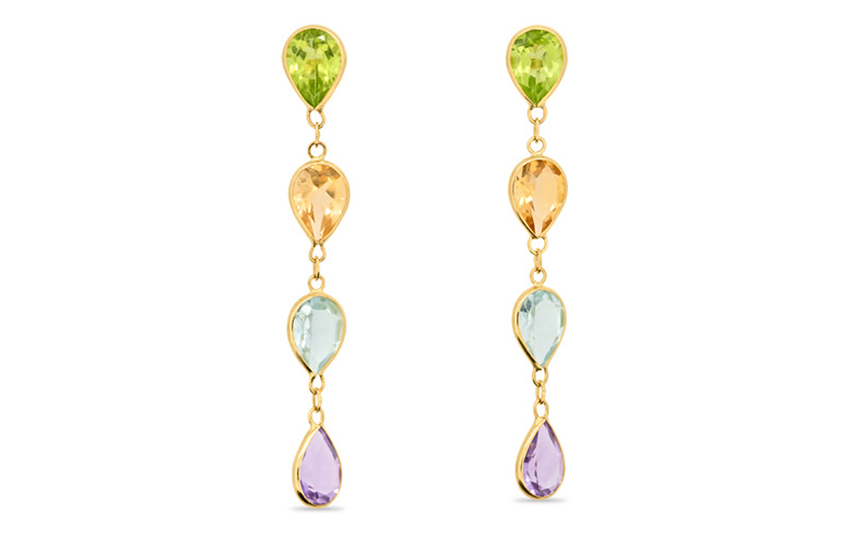 peridot, citrine, topaz and amethyst drop stud earrings