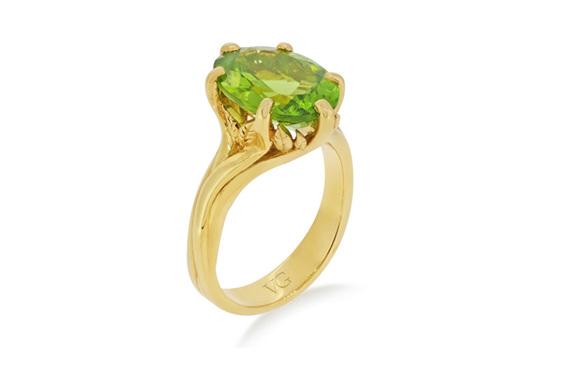 Peridot dress ring - yellow gold leaf detail