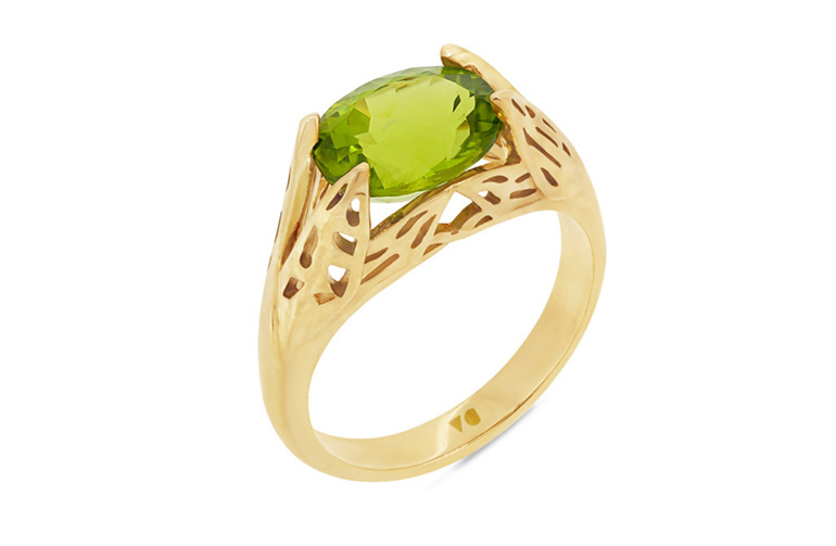 Peridot Dress Ring, Yellow Gold Ring