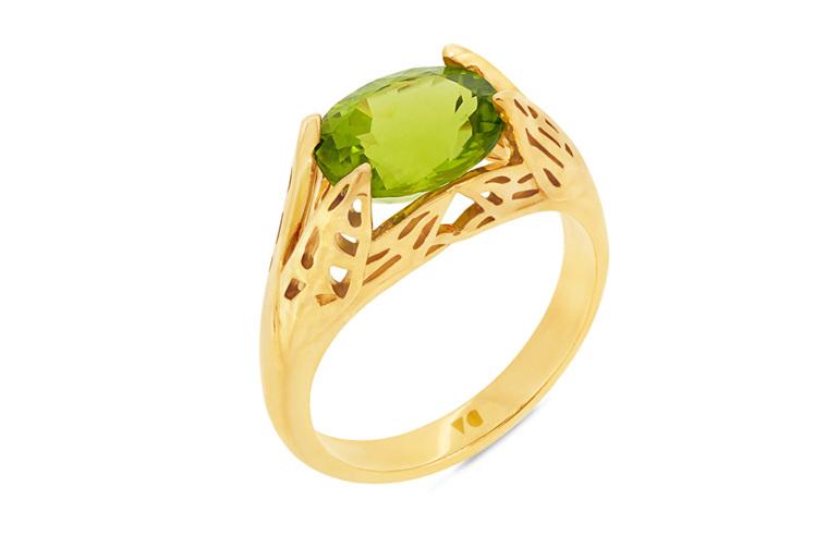 Peridot Dress Ring, Yellow Gold Ring