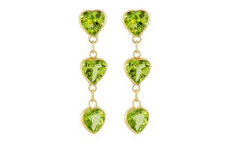 Peridot Drop Stud Earrings