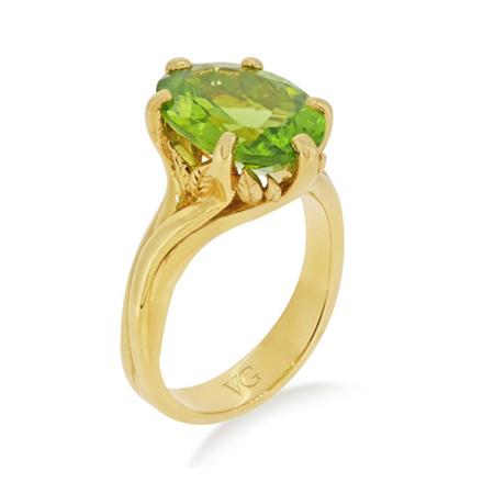 Peridot Leaf Dress Ring