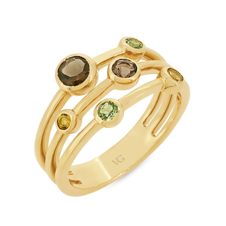 Peridot, Smokey Quartz & Citrine Ring