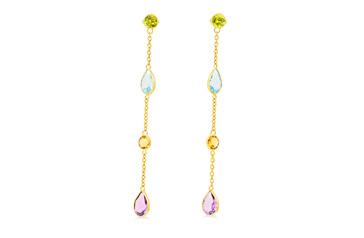 Coloured Dangle Stud Earrings