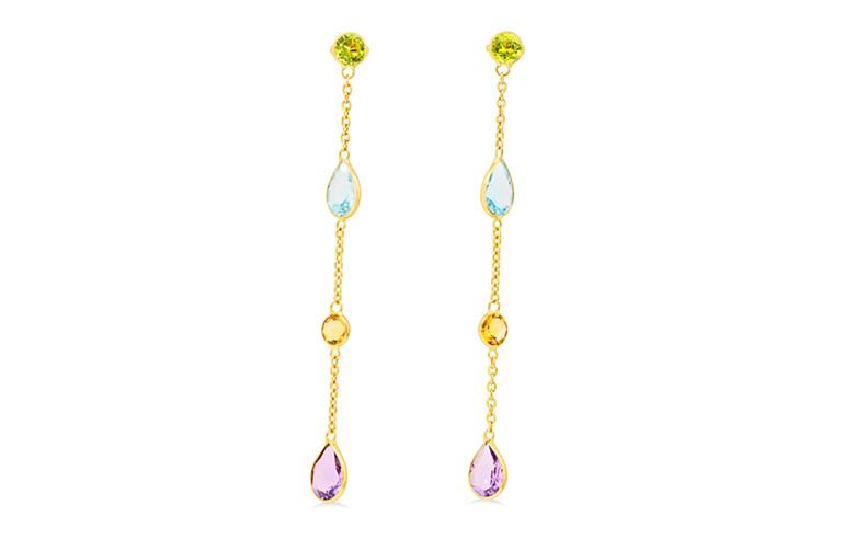 peridot topaz citrine amethyst drop earrings
