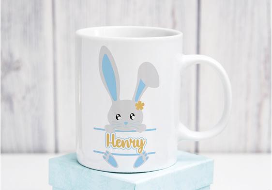 personalised blue bunny Mug