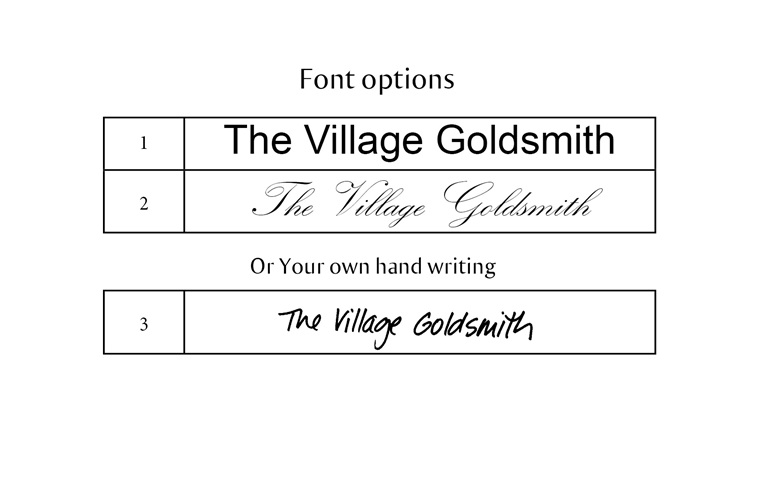 Personalised engraving font options