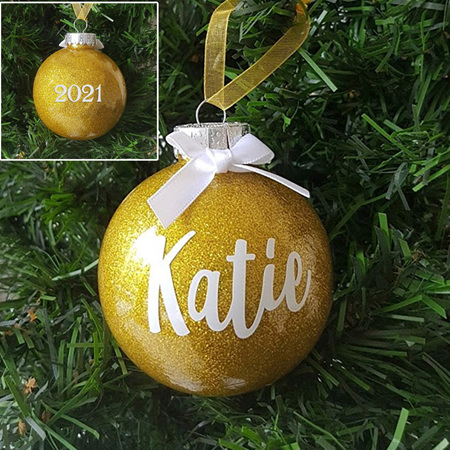 Personalised Name Christmas Glitter ornament