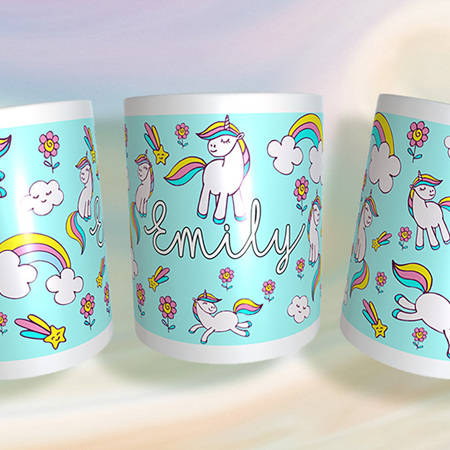 Personalised Unicorn  and Rainbows Mug