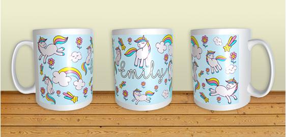 Personalised Unicorn Mug name child girl gist