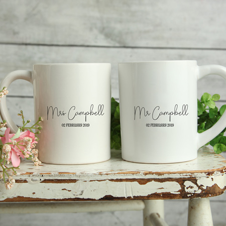 Personalised Wedding Mugs Campbell Design
