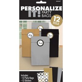 Personalize It Party Paper Bags x 12 with Stickers