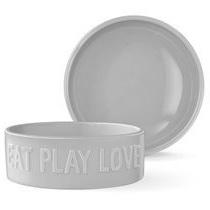 Pet Bowl - Sculpt - Eat Play Love Large Grey