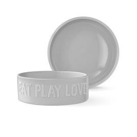 Pet Bowl - Sculpt - Eat Play Love Large Grey