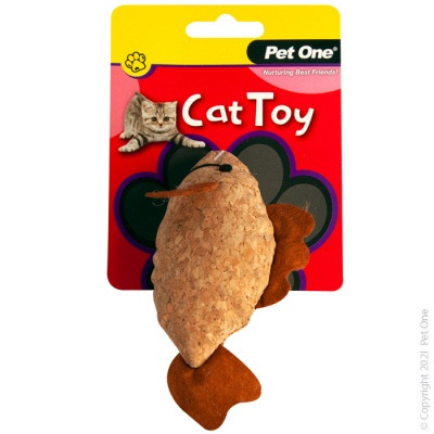 Pet One Cat Toy - Plush Cork Fish