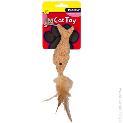Pet One Cat Toy - Plush Cork Fish with Feather