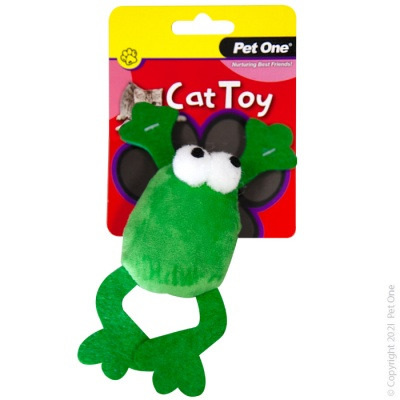 Pet One Cat Toy - Plush Jumping Frog