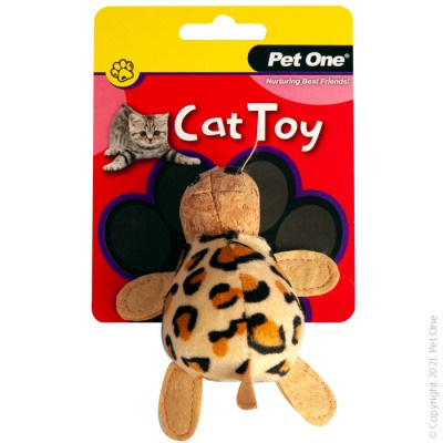 Pet One Cat Toy - Plush Leopard Tortoise