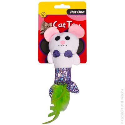 Pet One Cat Toy - Plush Mermouse with Feather