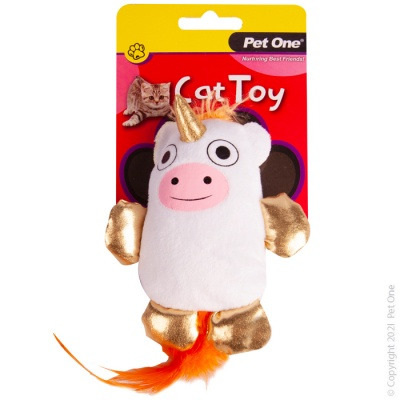 Pet One Cat Toy - Plush Moonicorn with Feather