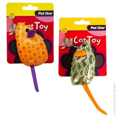 Pet One Cat Toy - Plush Shiny Mouse