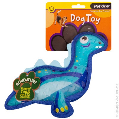 Pet One Dog Toy - Adventure Squeaky Dinosaur Blue