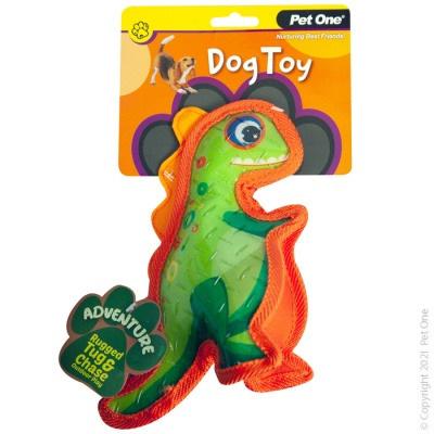 Pet One Dog Toy - Adventure Squeaky Dinosaur Green