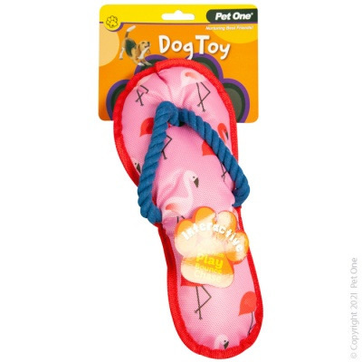 Pet One - Interactive Squeaky Flamingo Thong with Rope