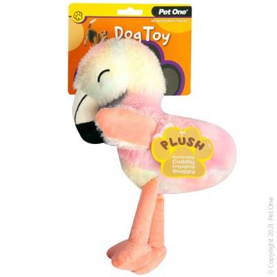 Pet One - Plush Squeaky Rainbow Flamingo
