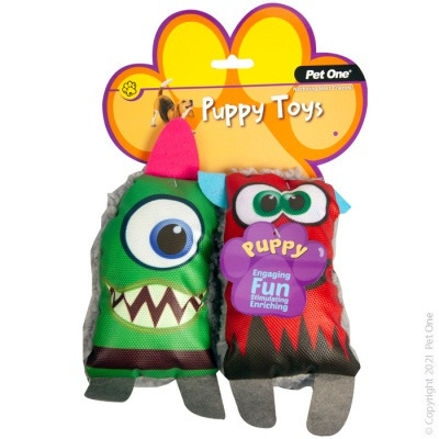 Pet One - Puppy Squeaky Fluffy Monsters Pack (2 piece set)