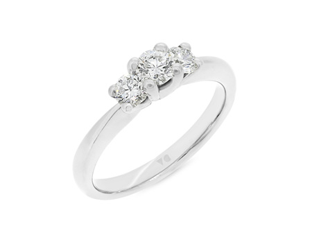 Petite Three-Stone Diamond Ring