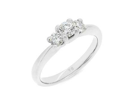 Petite Three-Stone Diamond Ring
