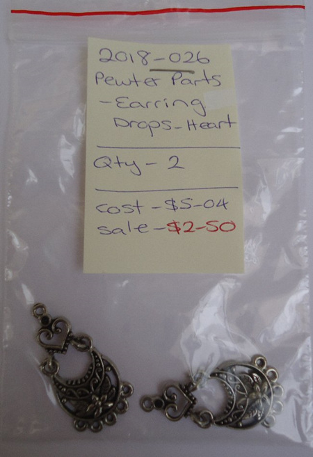 Pewter Parts - Earring Drops - Heart