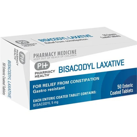 Pharmacy Health Bisacodyl Laxative 50 Enteric Coated Tablets