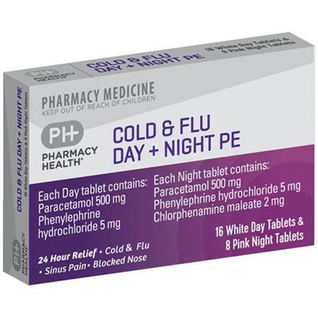 Pharmacy Health Cold and Flu Day and Night PE 24 Tablets