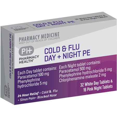 Pharmacy Health Cold & Flu Day + Night PE  48's