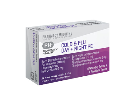 Pharmacy Health Cold & Flu Day + Night PE  72's