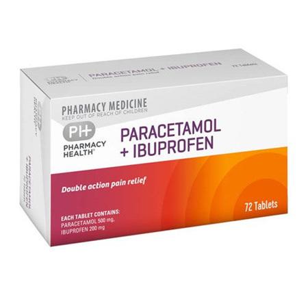Pharmacy Health Paracetamol + Ibuprofen 72 Tablets