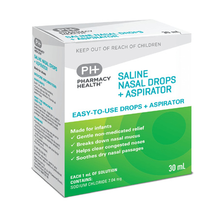 Pharmacy Health Saline Nasal Drops with Aspirator  30ml