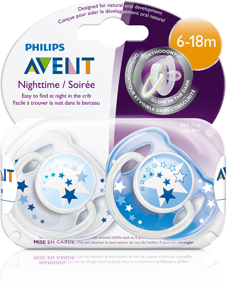 Philips Avent 6m+ Soother Night Time 2pk BLUE