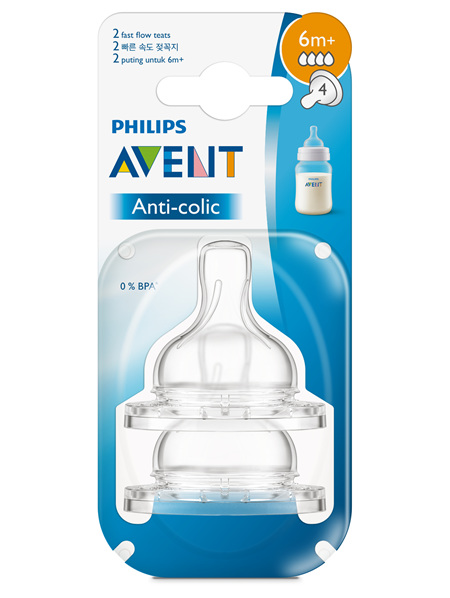 Philips Avent Anti-colic Fast Flow 6m+ Teats 2pk