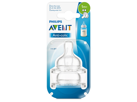 Philips Avent Anti-colic Slow Flow 1m+ Teats 2pk