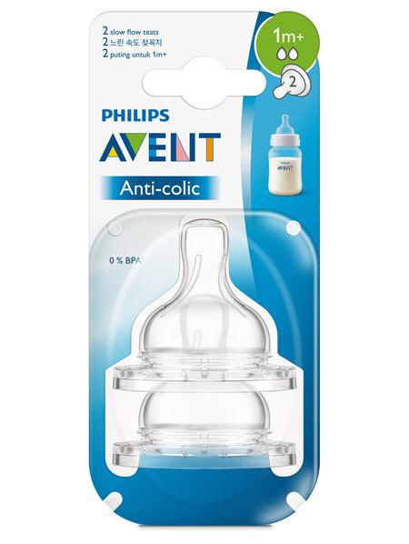 Philips Avent Anti-colic Slow Flow 1m+ Teats 2pk
