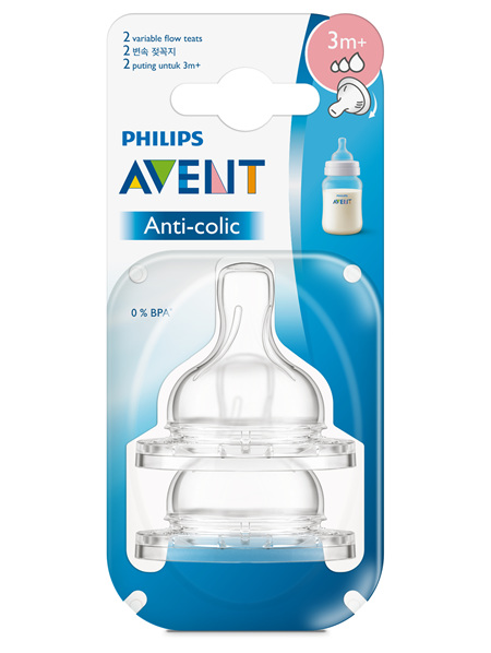 Philips Avent Anti-colic Variable Flow Teats 2pk