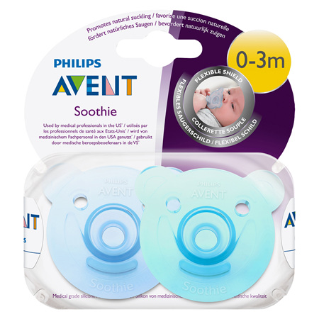 Philips Avent Bear Soothie 0-3m 2pk