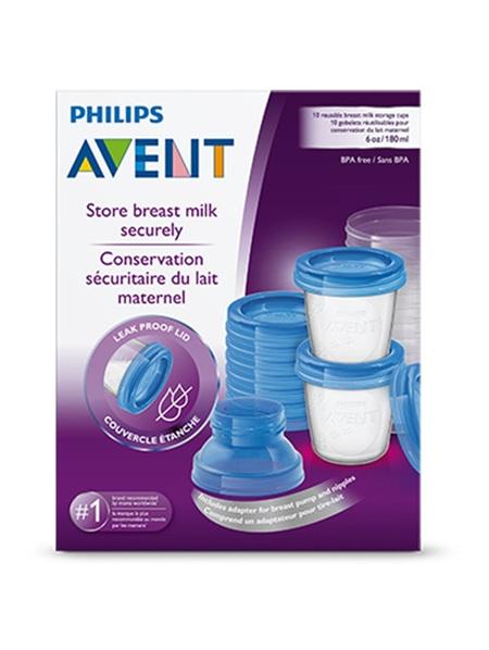 Philips Avent Milk Storage Cups 180ml 10pk